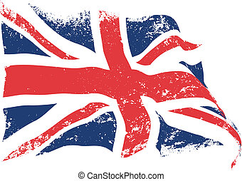 British flag grunge waving