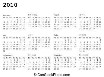 calendar of 2010. Monday is first - horizontal oriented...