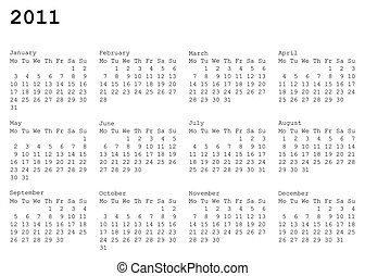 calendar of 2011. Monday is first - horizontal oriented...