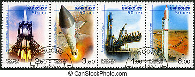 RUSSIA - CIRCA 2004: A stamp printed in Russia shows R-7...