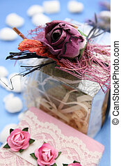 Purple Rose - Wrapped soap gift and decorated pvc box with...