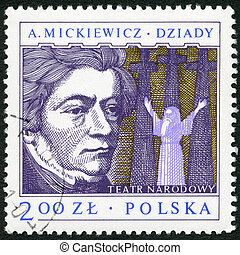 POLAND - CIRCA 1978: A stamp printed in Poland shows Adam...