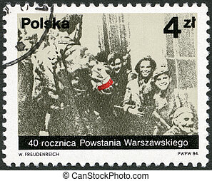 POLAND - 1984: shows Polish partisans from the Miotla...