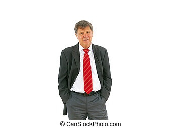 smart successful business man with red tie and black suit -...