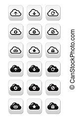 Cloud vector buttons set for web - Modern grey glossy clouds...