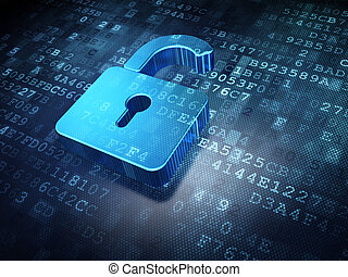 Security concept: blue opened padlock on digital background,...