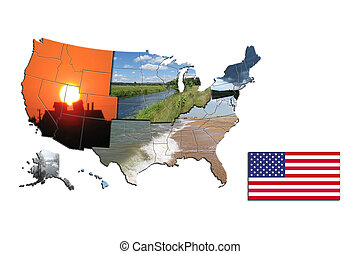 the map of USA with flag