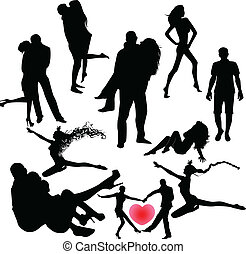 set of black silhouettes of couples