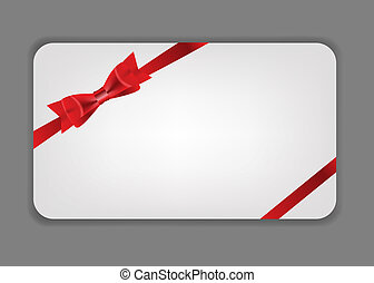 Holiday gift cards with red bow, ribbon and place for text...