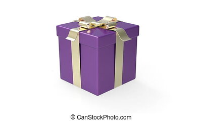 Gift box rotates on white background