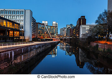 urban building manchester irw - River Irwell passing through...