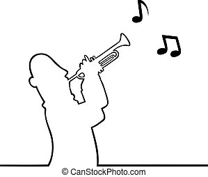 Trumpet player - Black line art illustration of a trumpet...