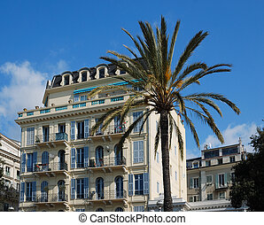 Mediterranean hotel in sea-front and lofty palms, Nice -...