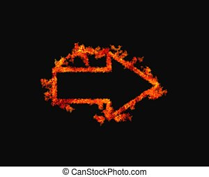Flaming arrow - Illustration with a flaming arrow on black...