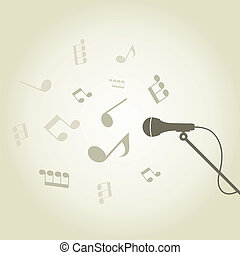 Microphone4 - From a microphone there is a sound of notes A...