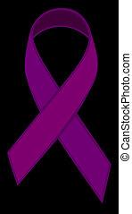 Purple Ribbon - Purple ribbon clipart on a black backdrop