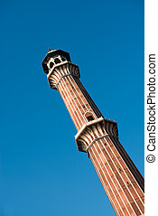 Minaret Jama Masjid Mosque, Dehli, India - High minaret in...