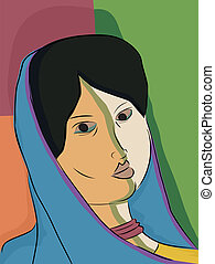 Indian Muslim Woman - Abstract portrait of an Indian Muslim...