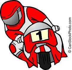 czerwony, moto