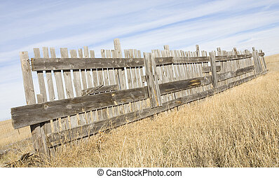 Fence - Wooden fence that is old in the middle of a grassy...