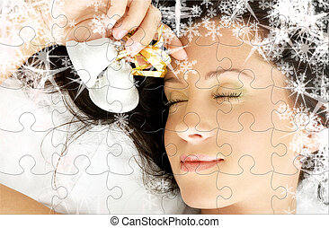 christmas dream puzzle - puzzle of dreaming girl with...