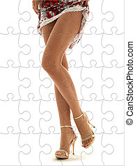 perfect legs puzzle - lace dress and golden heels lady legs...