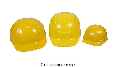 Family of Hard Hats - Family of yellow hard hats worn for...