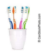 Quatro, coloridos,  toothbrushes
