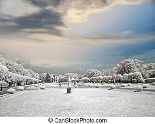Farmstead Kuskovo - Infra-red photo. Landscape design of...
