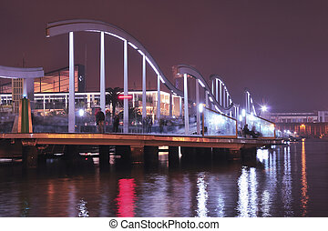Barcelona Port Vell - night image of scenic pedestrian...