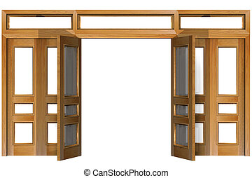 Open Doors - Open doors isolated on white (clipping path)....