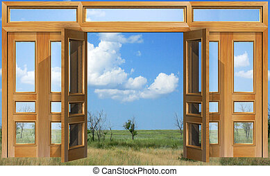 Opened to sky door - Open doors against the background...