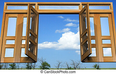 Open gates into the celestial paradise - Open doors against...