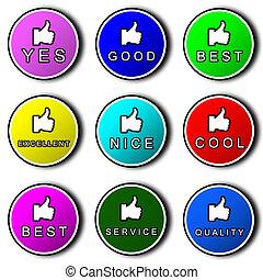 promotional stickers - Nine promotional stickers on a white...