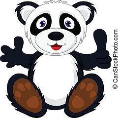 baby panda with thumb up - vector illustration of baby panda...