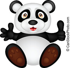 baby panda with thumb up - vector illustration of baby panda...