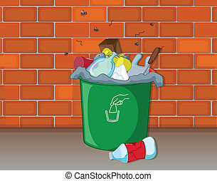 A dustbin - Illustration of a dustbin in front of a wall