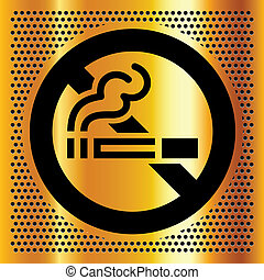 No smoking symbol on a gold backdrop. Vector illustration.