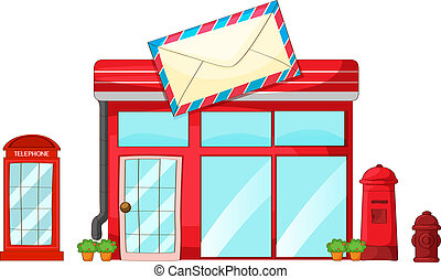 A post office, a mailbox, a telephone