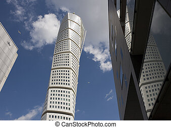 Turning Torso of Malmo - Sweden\\\'s highest building at 190...