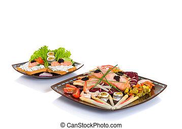 Smoked salmon dish - Gourmet smoked salmon dish and toast,...