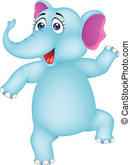 baby elephant dancing - vector illustration of baby elephant...