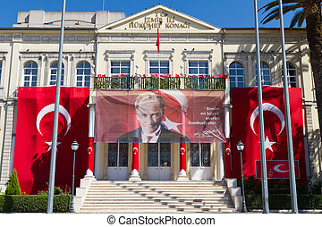 Izmir Government House during Izmir Independence Day on...