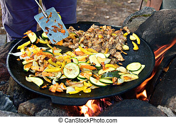 Outdoor stirfry - Campfire stirfry of mixed vegetables and...