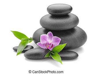 Zen stones - zen basalt stones and orchid on the white