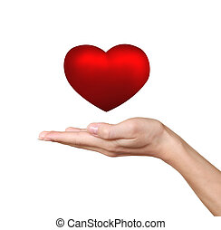 Hand holding red heart isolated on white background Love and...