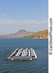 Solar cells. - Solar cells are placed on the lake.