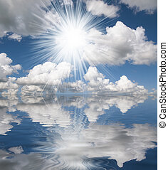 Sun,blue sea and white clouds - Oceanscene with blue cloudy...