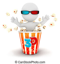 3d white people come out of popcorn - 3d white people comes...