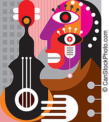Woman playing guitar - vector illustration. Abstract woman...